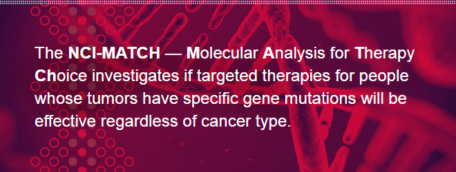 The NCI-MATCH — Molecular Analysis for Therapy Choice investigates if targeted therapies for people whose tumors have specific gene mutations will be effective regardless of cancer type.